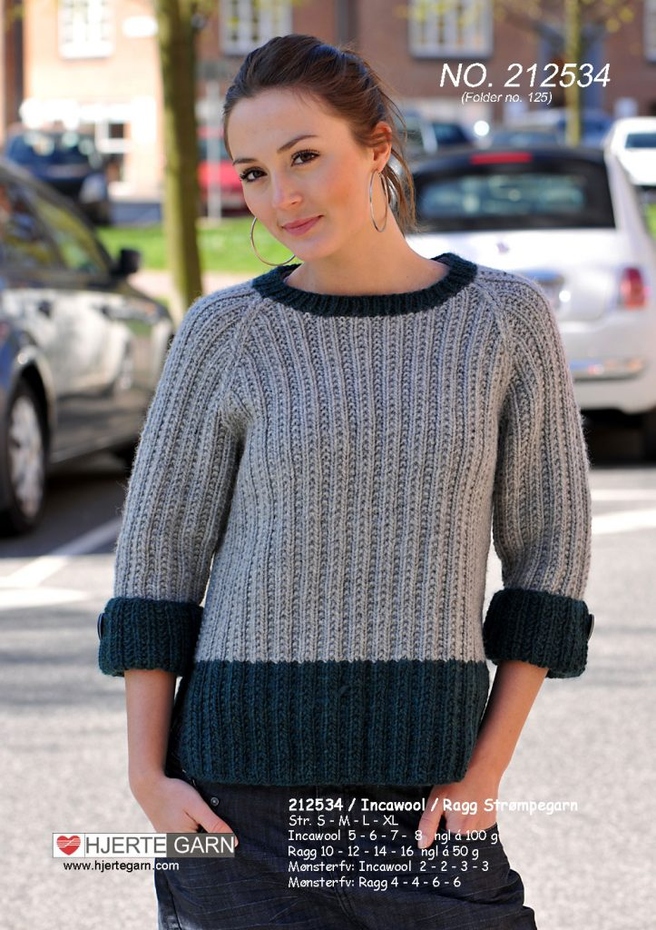 Free Knitting Pattern for a Two Colour Raglan Sweater
