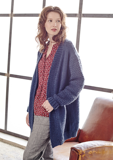 Tyburn Cosy Winter Cardigan Free Knitting Pattern Download. Easy knitting pattern.
