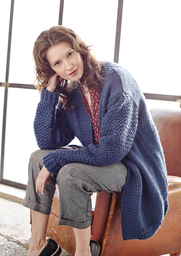 Tyburn Cosy Winter Cardigan Free Knitting Pattern Download. Easy knitting pattern.