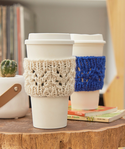Easy Knit Coffee Cozy Free Lace Knitting Pattern.