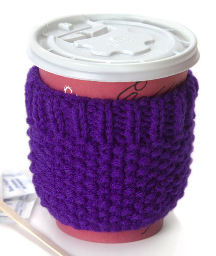 Easy knit coffee cozy pattern for beginners.