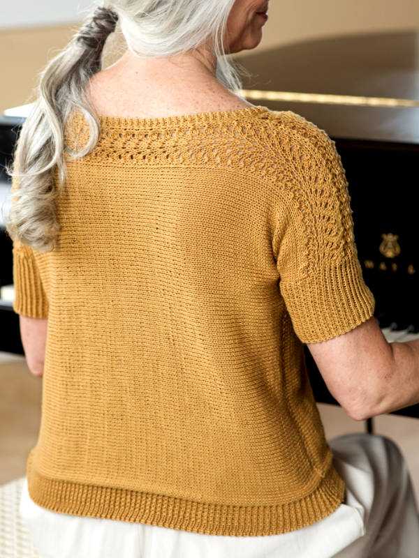 Free Knitting Pattern for Diane a Short Sleeve Sweater