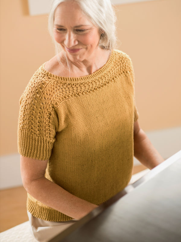Free Knitting Pattern for Diane a Short Sleeve Sweater.