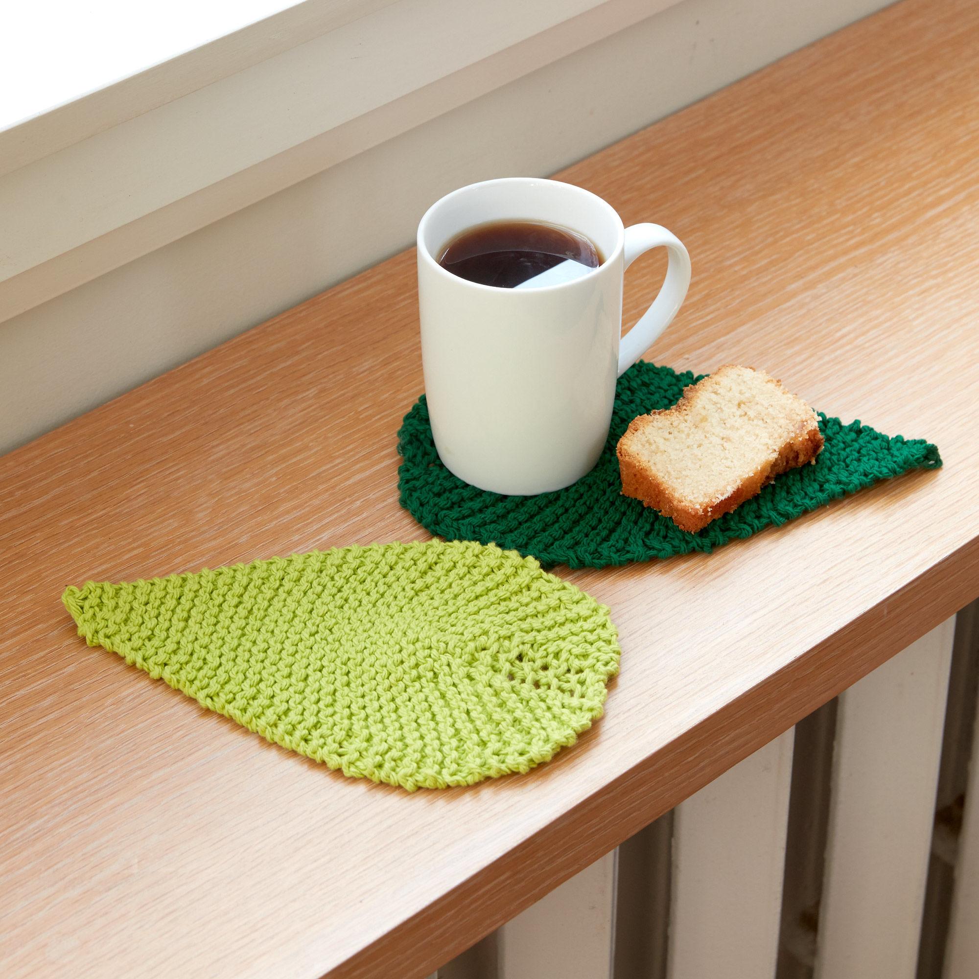 Free Knitting Pattern for a Be-Leaf It Mug Rug.