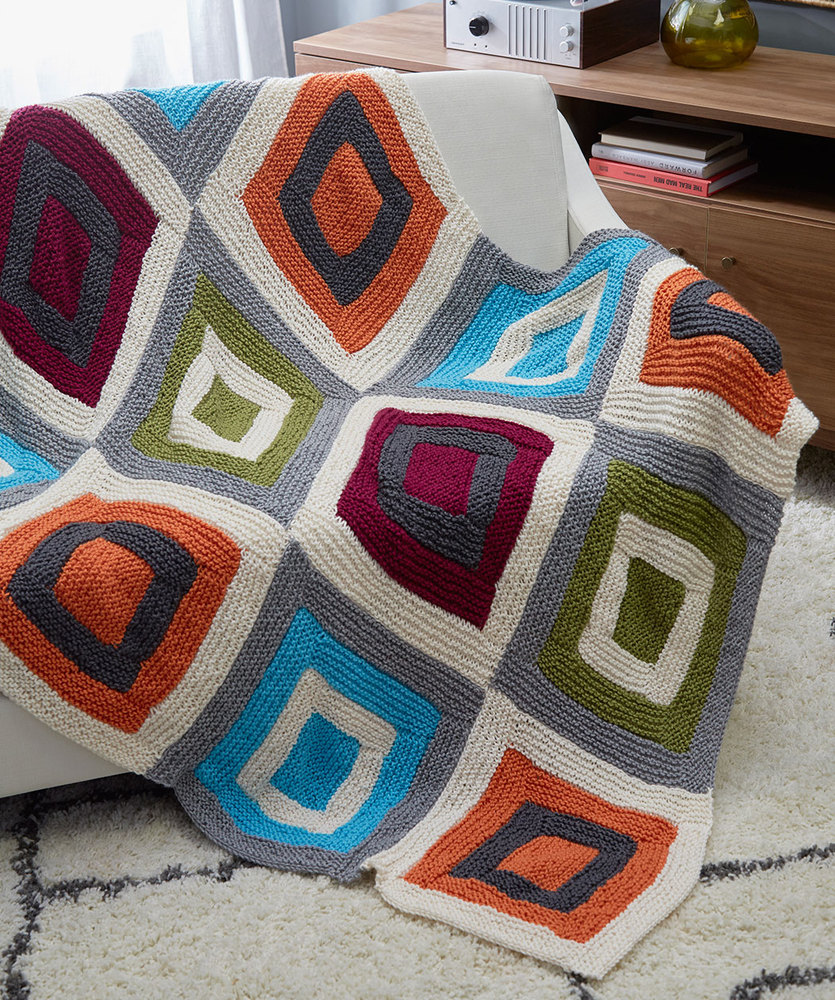 Free Knitting Pattern for a Color Blocks Throw.