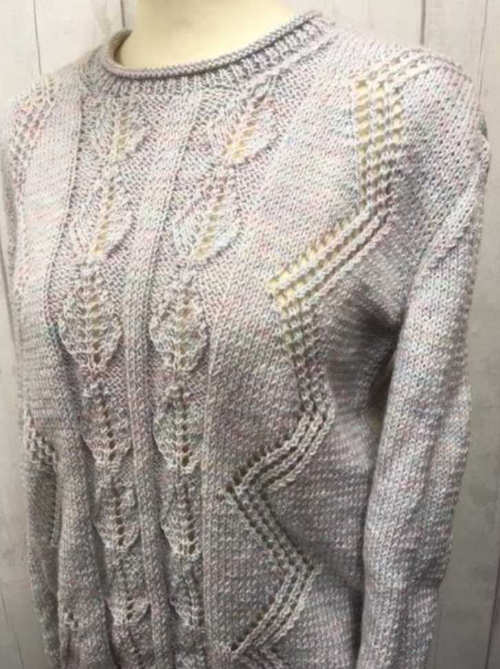 Free Knitting Pattern for a Lacy Leaf Jumper.