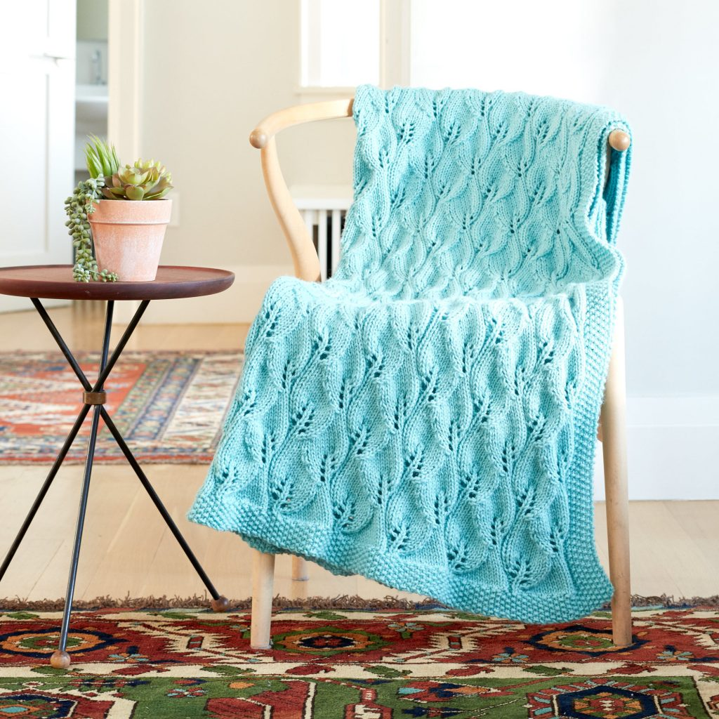 Free Knitting Pattern for a Leafy Lace Green Afghan.
