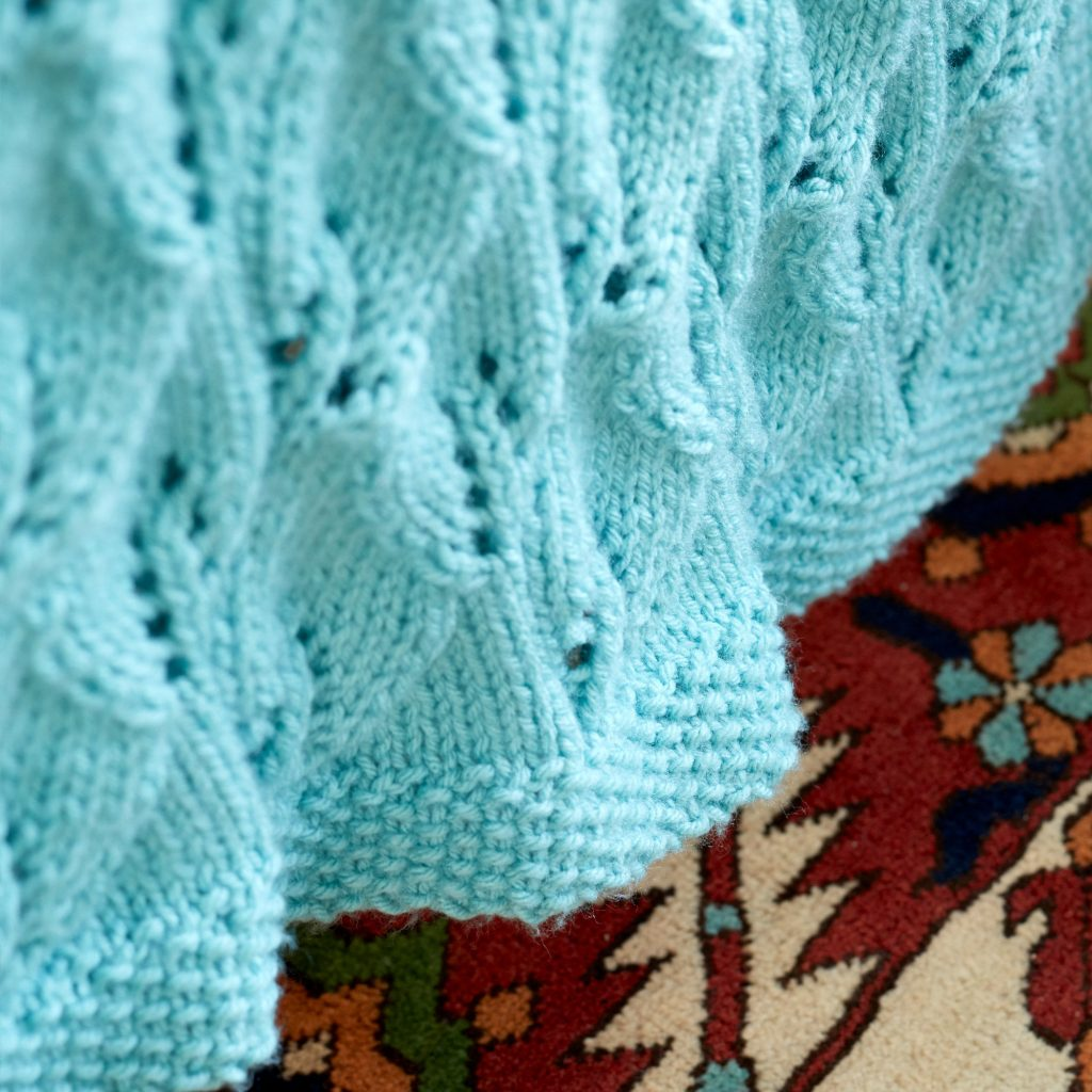 Free Knitting Pattern for a Leafy Lace Green Afghan