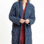 Free Knitting Pattern for a Long Cabled Coat.