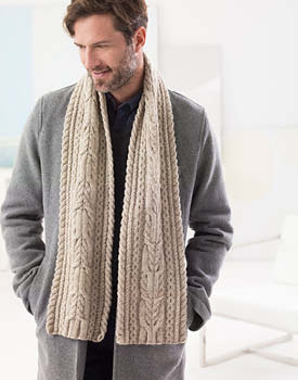 Free Knitting Pattern for a Man's Cabled Scarf.
