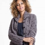 Free Knitting Pattern for a Mohair Eyelet Cardigan.