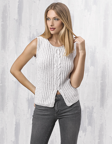 Free Knitting Pattern for a Rib and Cable Top.