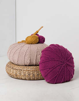 Free Knitting Pattern for a Textured Pouf.