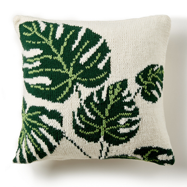 Free Knitting Pattern for a Tropical Leaf Pillow.