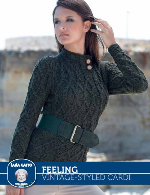 Free Knitting Pattern for a Vintage Styled Cable Cardigan