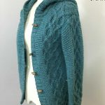 Free Knitting Pattern for a Women's Aran Tweed Cardigan. Cabled cardigan/jacket to knit with hoodie.