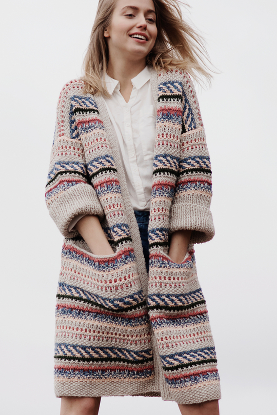 Free Knitting Pattern for a Women's Color Work Cardigan.