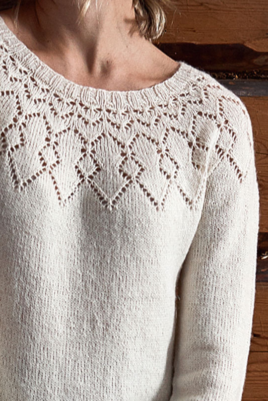 Free Knitting Pattern for a Women's Lace Yoke Dress Detail.