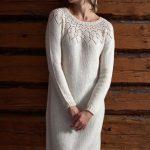 Free Knitting Pattern for a Women's Lace Yoke Dress.