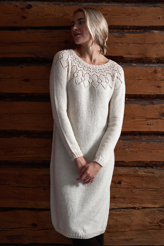 Free Knitting Pattern for a Women's Lace Yoke Dress.
