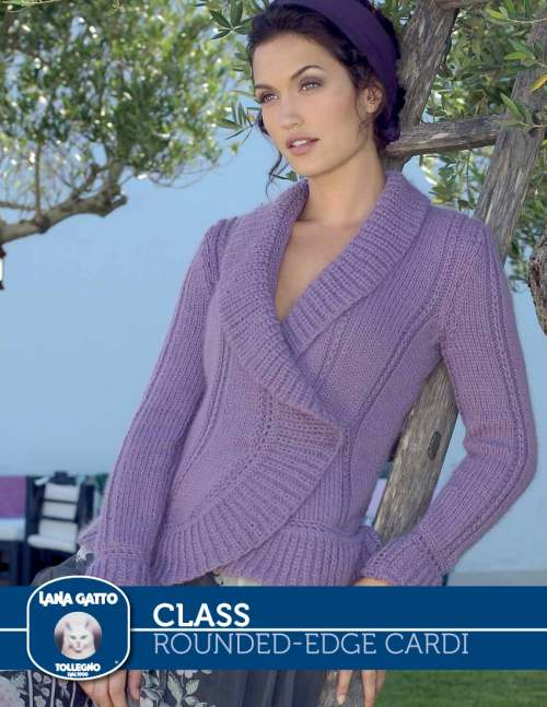 Free Knitting Pattern for a Women's Rounded-Edge Cardigan.