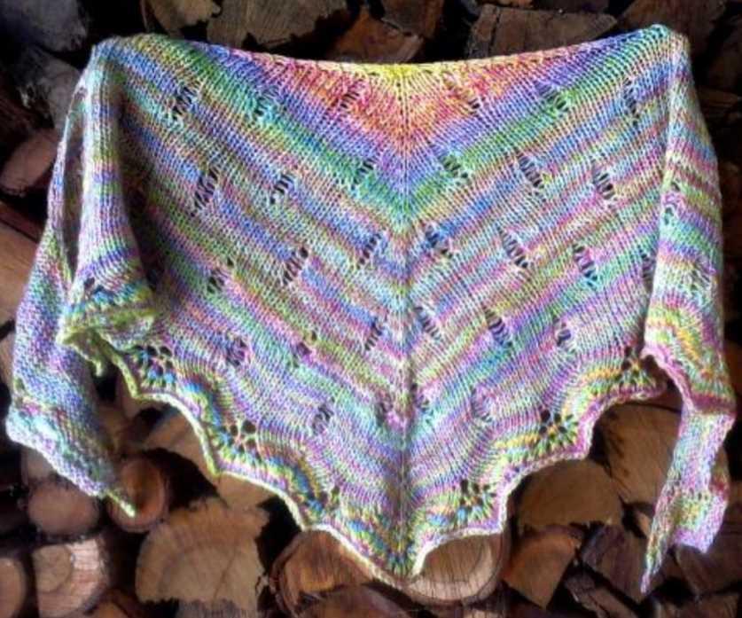 Free Knitting Pattern for the London Calling Shawl in Rainbow Yarn.