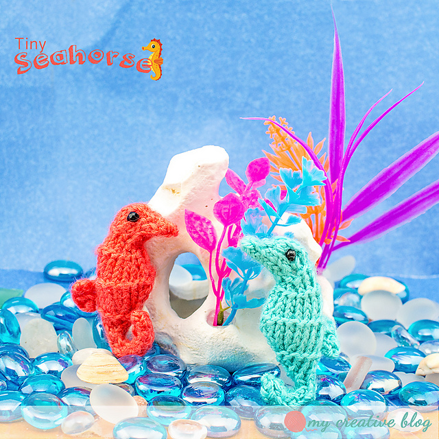 Free knitting pattern for a tiny seahorse.