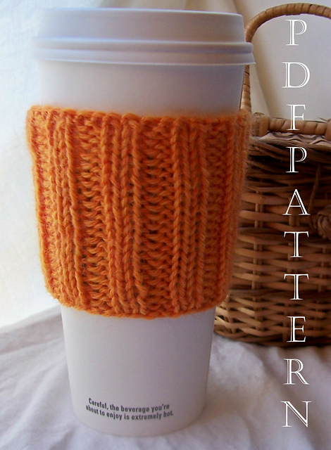 Two by Two Cup Cuddler Free Coffe Cozy Knitting Pattern.