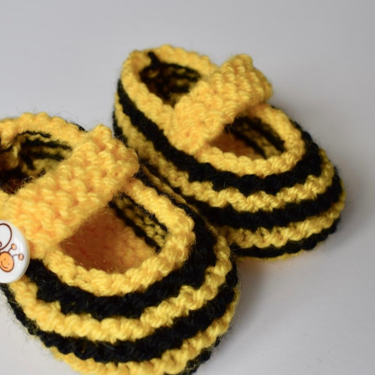 Free Baby Knitting Pattern for Bee Booties