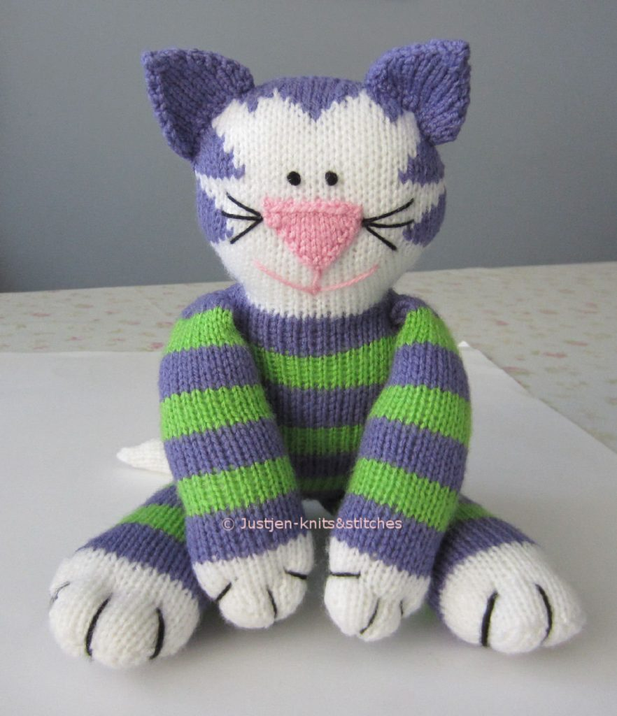 Free Knitted Cat Pattern Share Kitty. Free cat soft toy knitting pattern.
