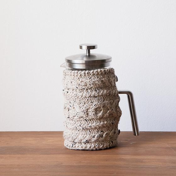 Free Knitting Pattern for Cabled Cozies Plunger Cozy Coffee