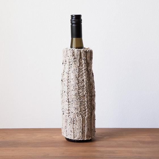 Free Knitting Pattern for Cabled Cozies for Wine