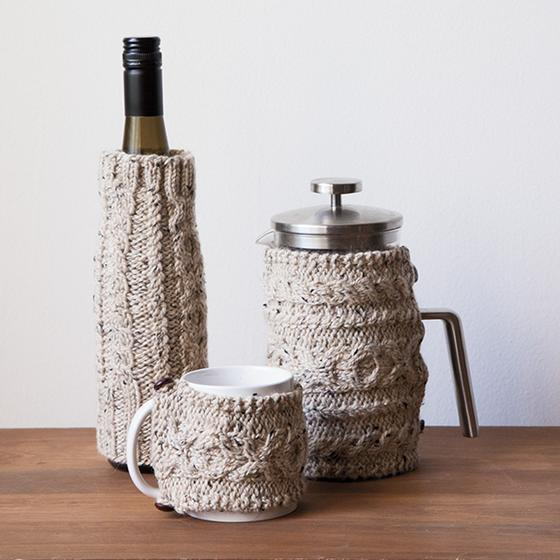 Free Knitting Pattern for Cabled Cozies
