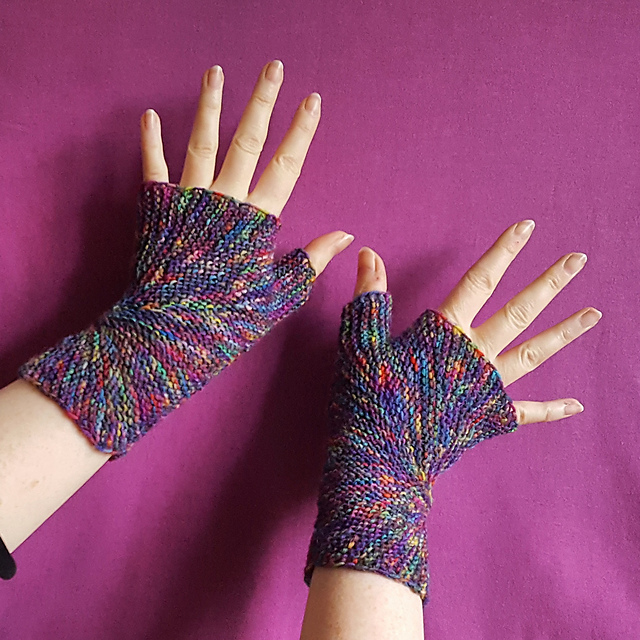 Free Knitting Pattern for Color Explosion Mitts