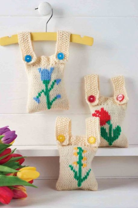 Free Knitting Pattern for Embroidered Scented Sachets.