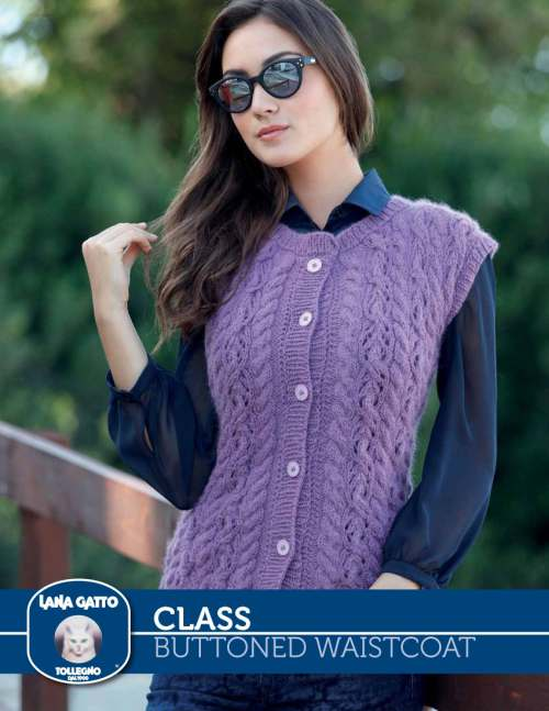 Free Knitting Pattern for a Buttoned Waistcoat