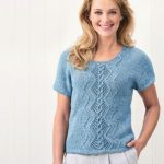 Free Knitting Pattern for a Denim Cable T-shirt