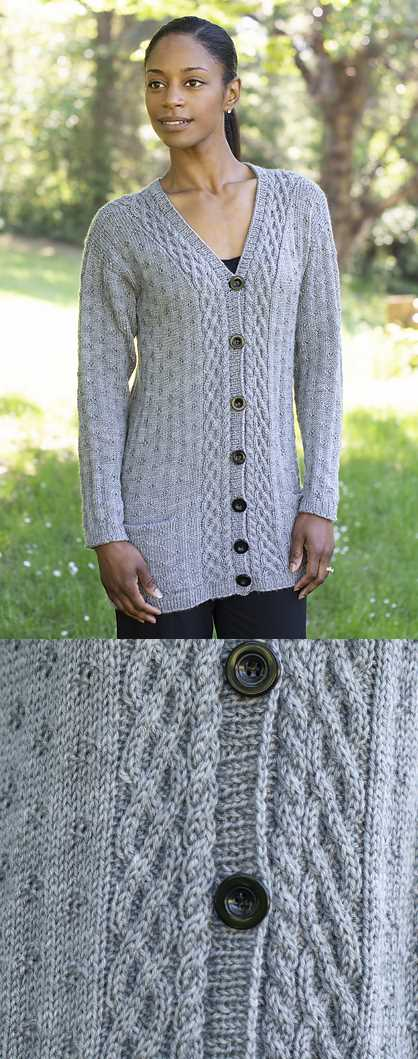 Free Knitting Pattern for a Diamond Cardigan. Beautiful long cardigan with cable and textured stitch and pockets.