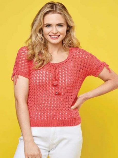 Free Knitting Pattern for a Easy Lace Short Sleeved Sweater