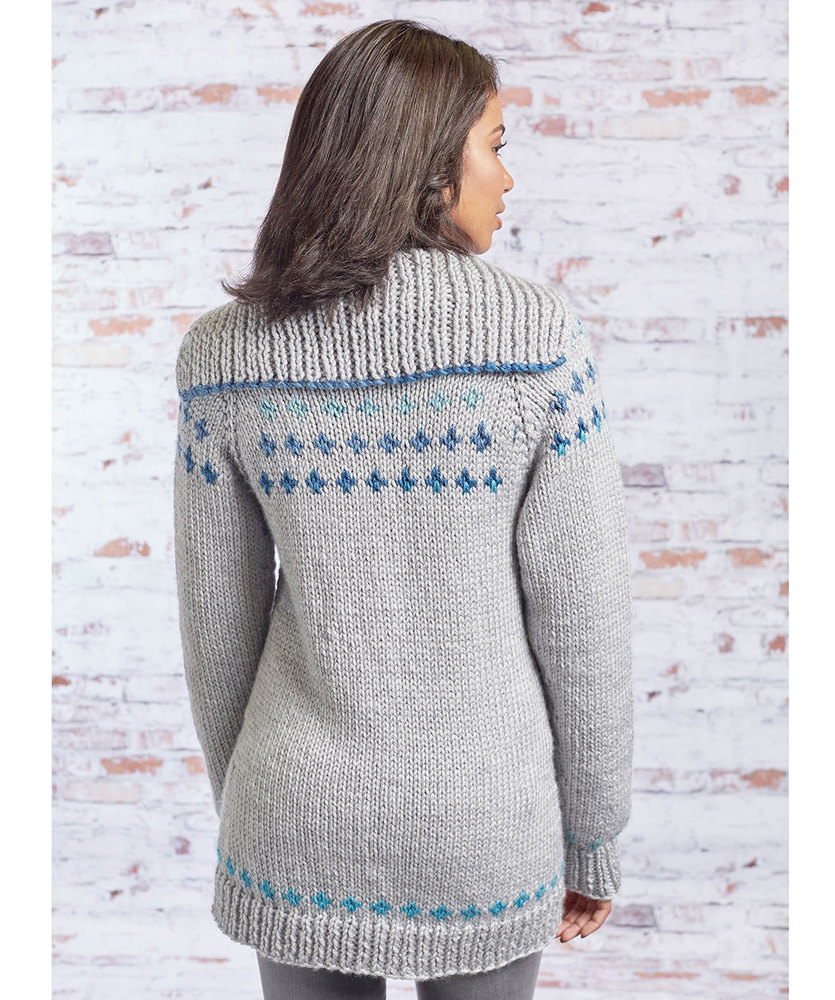 Free Knitting Pattern for a Fair Isle Sweater Coat