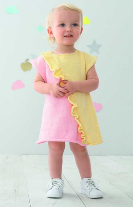Free Knitting Pattern for a Flore Baby Dress. Sizes: 6 months, 12 months, 18 months, 2 years and 4 years Cute two toned baby dress ruffles.