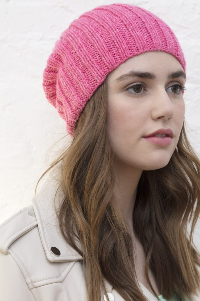 Free Knitting Pattern for a Girls Ribbed Hat