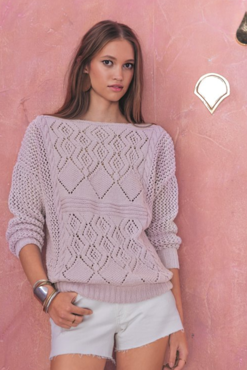 Free Knitting Pattern for a Lace Emilie Sweater in Phildar. Stylish lace sweater knitting pattern with diamond lace design..