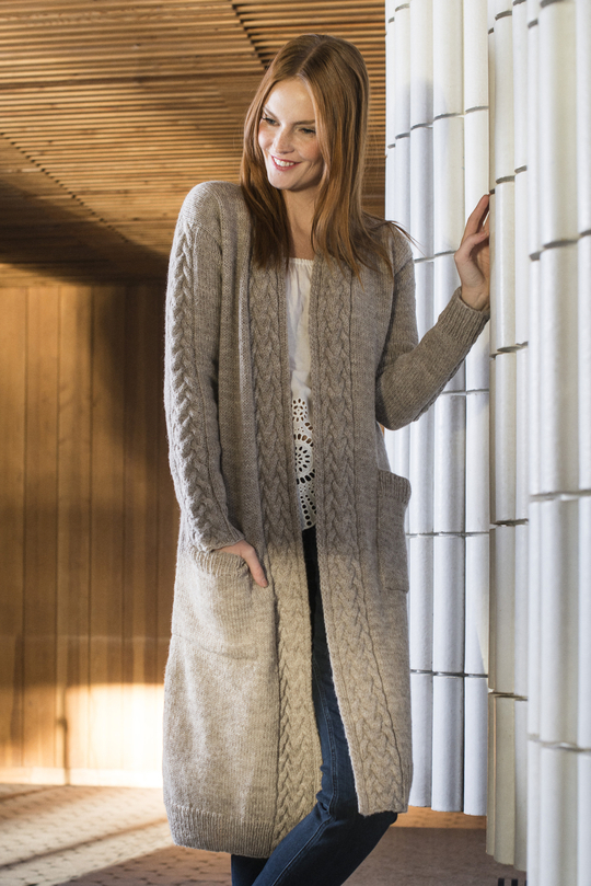 Free Knitting Pattern for a Long Women's Cabled Cardigan
