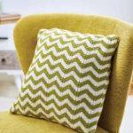 Free Knitting Pattern for a Simple Chevron Cushion. Ripple stitch pillow knitting pattern.
