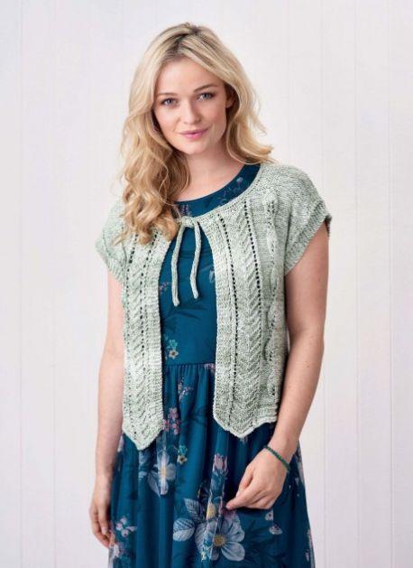 Free Knitting Pattern for a Textured Short Sleeve Bolero Jacket