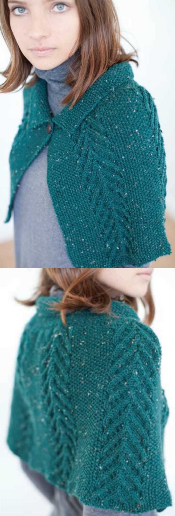 Free Knitting Pattern for a Tweed and Cable Cape.