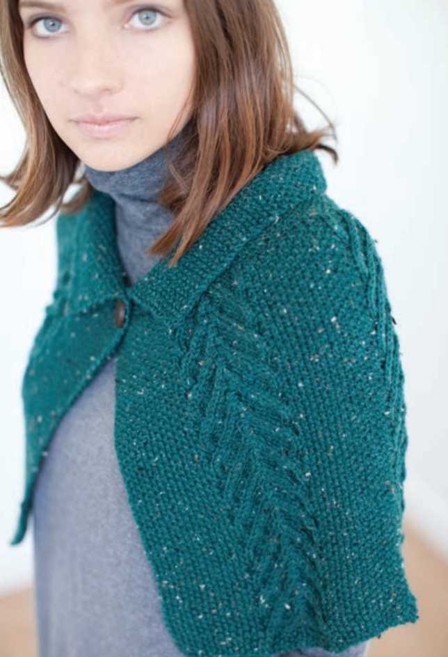 Free Knitting Pattern for a Tweed and Cable Cape
