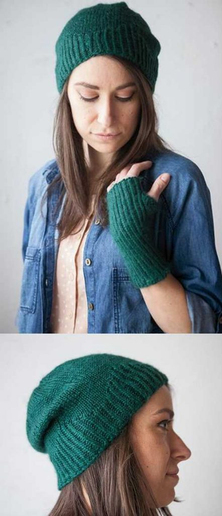 Free Knitting Pattern for a Twisted Rib Hat & Mitt Set