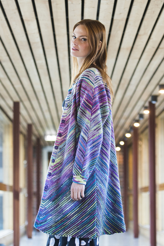 Free Knitting Pattern for a Women's Cardigan with Slanted Striping Pattern